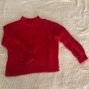 red thick turtleneck sweater